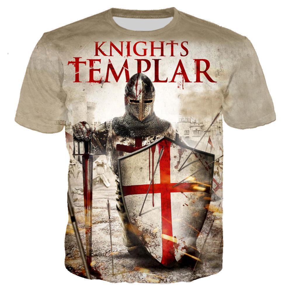 Vintage Knights Templar 3D Print T shirt Men/women Retro Streetwear T-shirt 2019 Summer Crewneck Tshirt Clothes Harajyku Tops