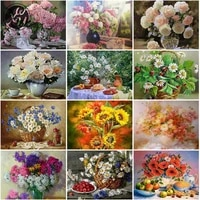 diamond painting peony flower full drill cross stitch kits for adults square mosaic art accessories rhinestones for family decor