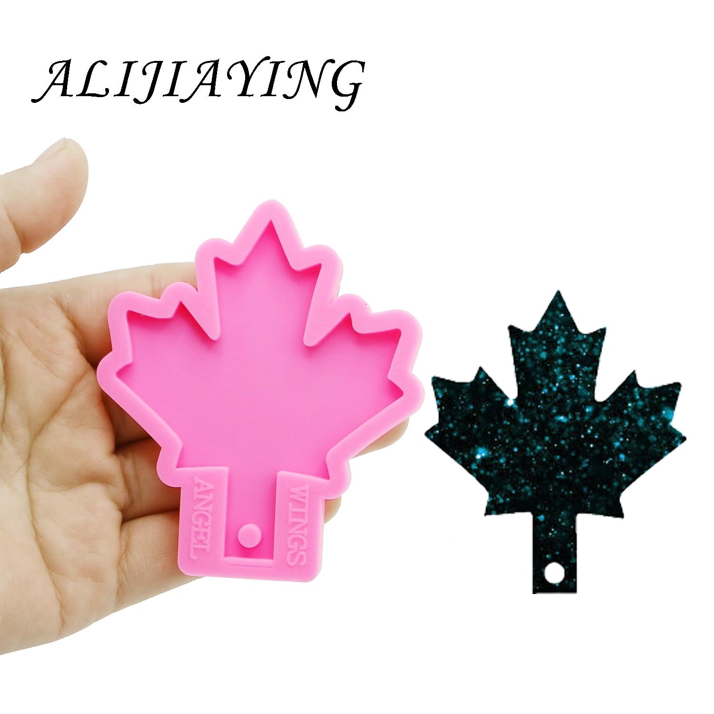 Brillante llavero de la hoja de arce hojas forma clave anillo decoración molde de silicona para DIY resina epoxi DY0155