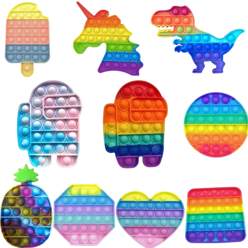 Rainbow Push Bubble Animal Fidget Toys AntiStress Reliever Toy Adult Child Funny Anti Stress Reliver