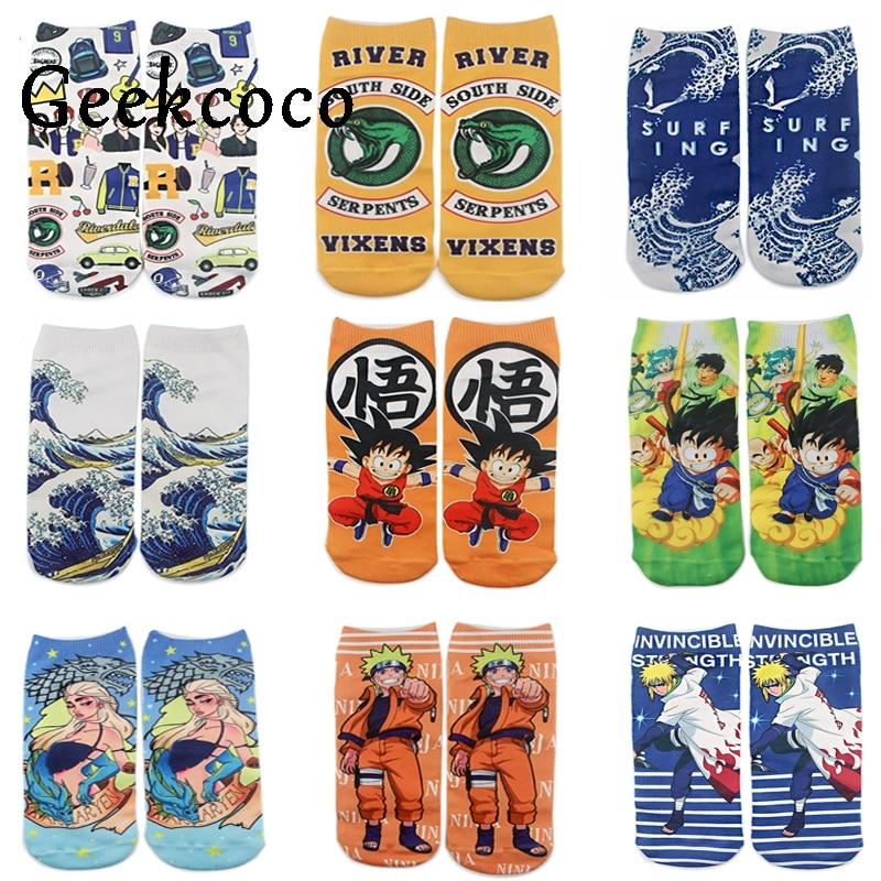 J1129 Cartoon Wave Anime NARUTO And Dragon Ball Sports short Socks for Kids Men Women 3D Printed Pattern Hip Hop Cotton Sock