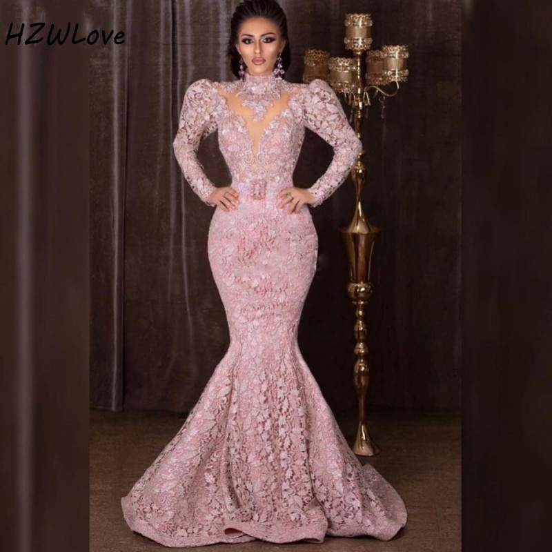 Pakistan Lace Mermaid Evening Dresses High Neck Long Sleeves Prom Dress With Sash African Dubai Women Formal Dresses Party Wear
