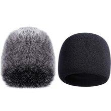 Чехол для микрофона, губка, микрофон для ветрового стекла для Blue Yeti, Yeti Pro, конденсаторный микрофон (губка и пушистое ветровое стекло, 2 упаков...