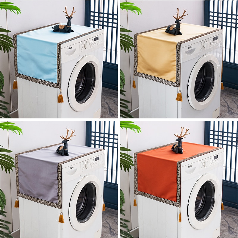 Custom Luxury Solid Silk Satin Washing Machine Dust Cover Chinese Style Fridge Microwave oven Dustproof Cover Cloth enlarge
