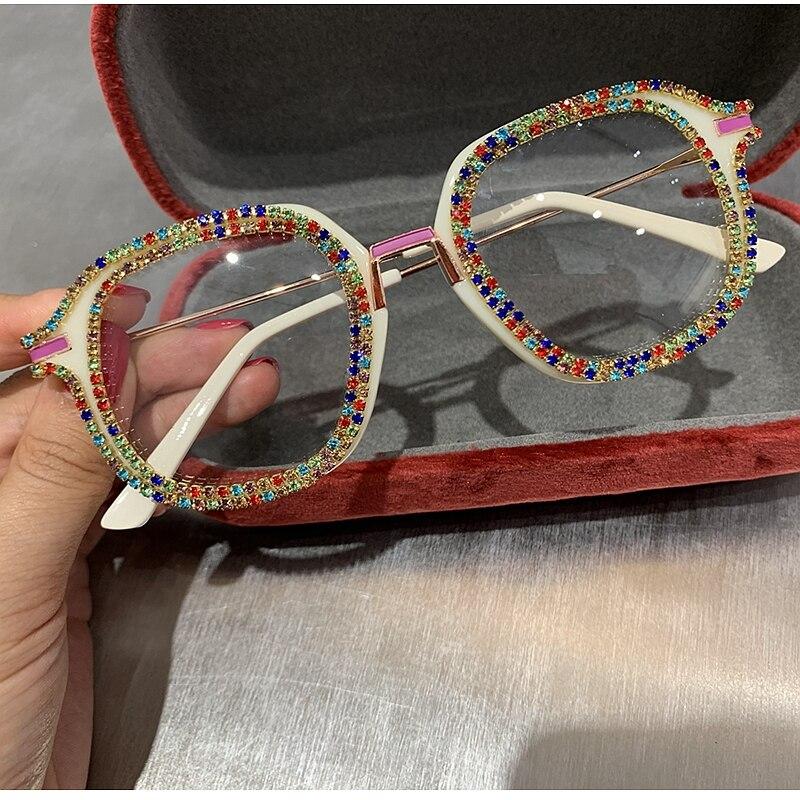 Platz Vintage Gläser Frauen Klar Objektiv Luxus Gläser für Männer Strass Flache Spiegel Gläser Brillen Lentes De Sol