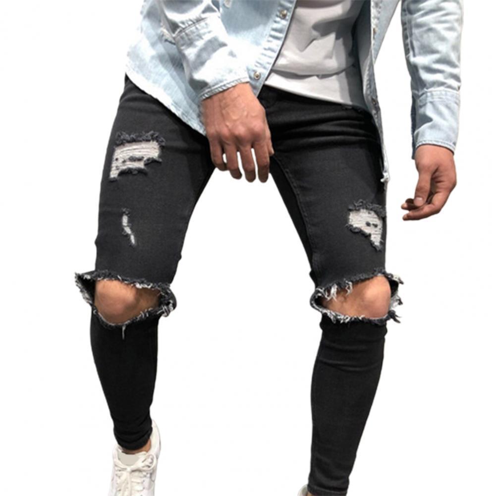 Осенние однотонные мужские джинсы с вырезами, винтажные тонкие рваные брюки для повседневной носки