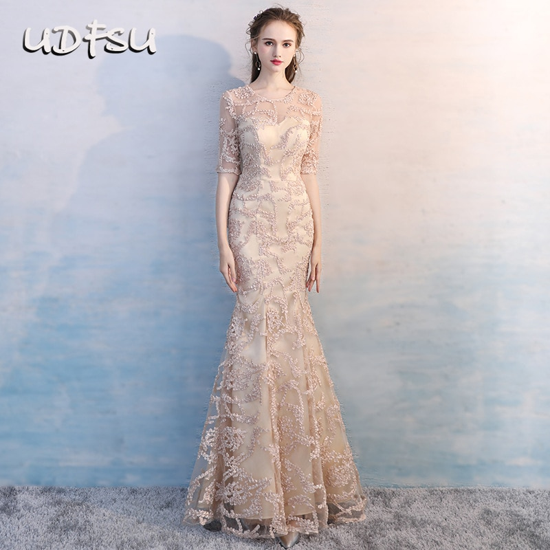 UDFSU mujeres media manga Simple princesa sirena vestido ajustado hasta el suelo apliques de vestido de noche elegantes vestidos de fiesta