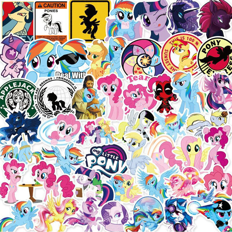 50Pcs Hasbro My Little Pony Stickers Cute Cartoon Stickers Mobile Phone Cup Notebook Waterproof Decorative Hand Account Stickers