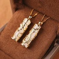 gold inlaid with jade dragon and phoenix pendant couple jade for men and women natural jade hotian jade pendant jade necklace