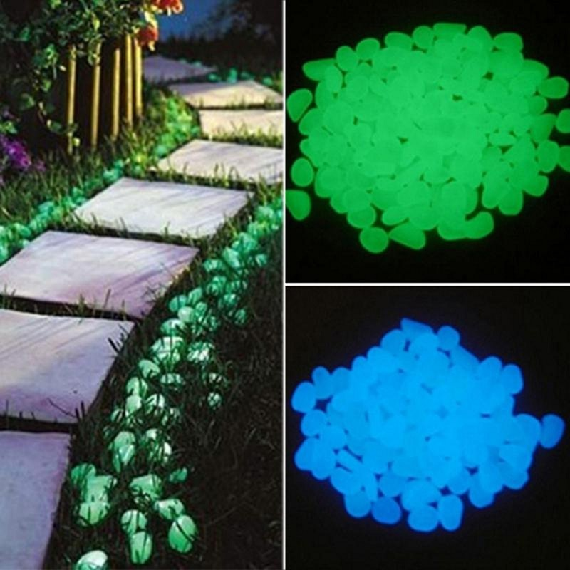 25/50 stks Glow in The Dark Tuin Pebbles Glow Stones Rocks voor Loopbruggen Tuinpad Patio Gazon Tuin Yard Decor Lichtgevende Stenen