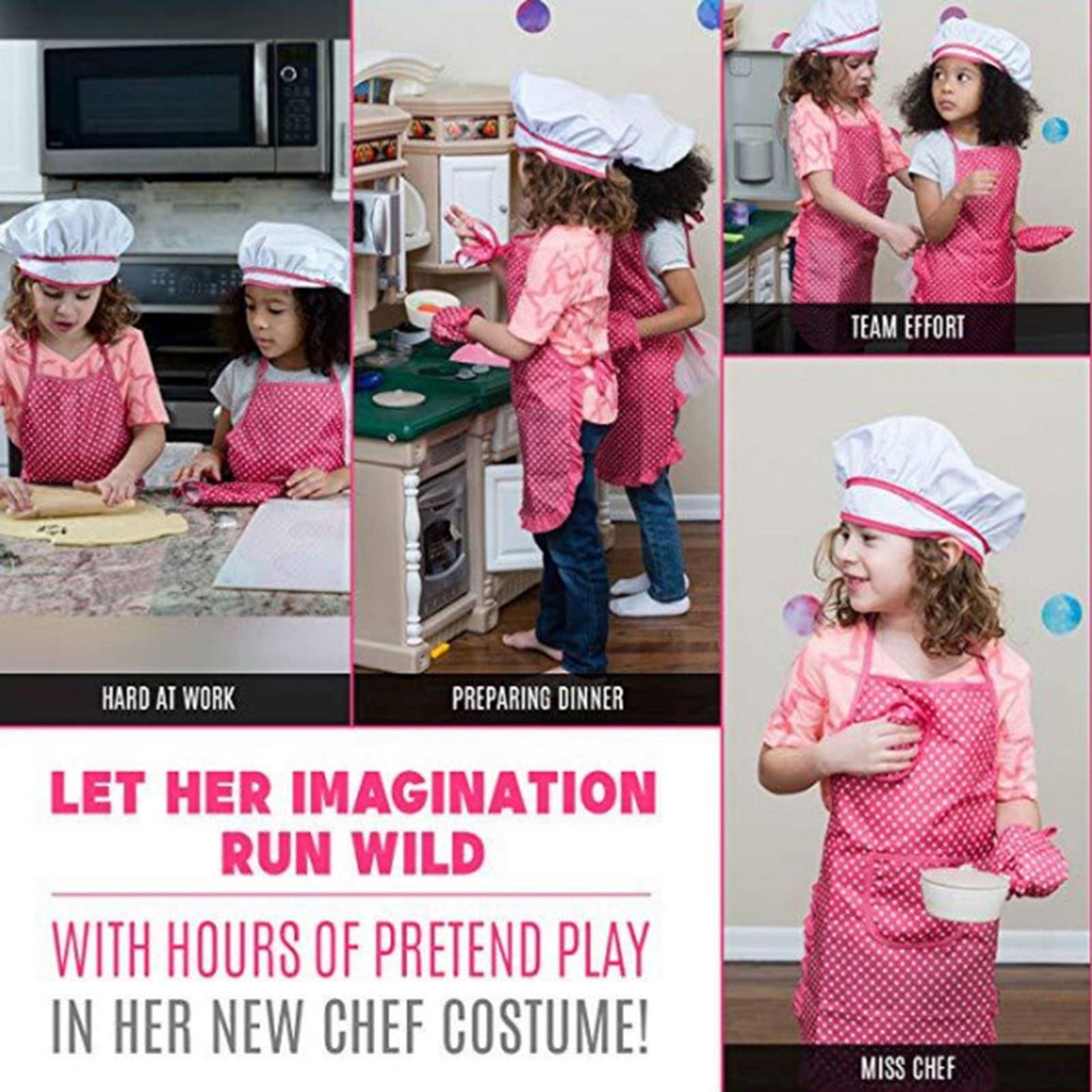 Conjunto de Cozinha das Crianças Peças Fingir Jogar Presente Brinquedo Chef Conjunto Crianças Aventais Pi669 11