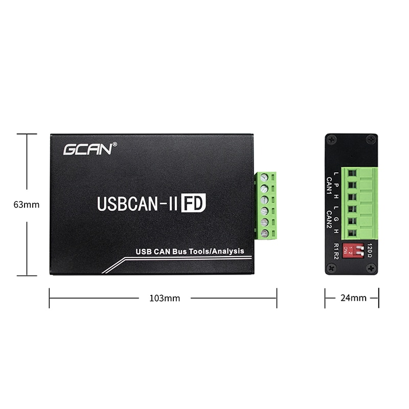 USBCAN FD interface card automobile CAN bus analyzer CAN FD debugging analyzer, variable baud rate galvanic isolation 2500V enlarge