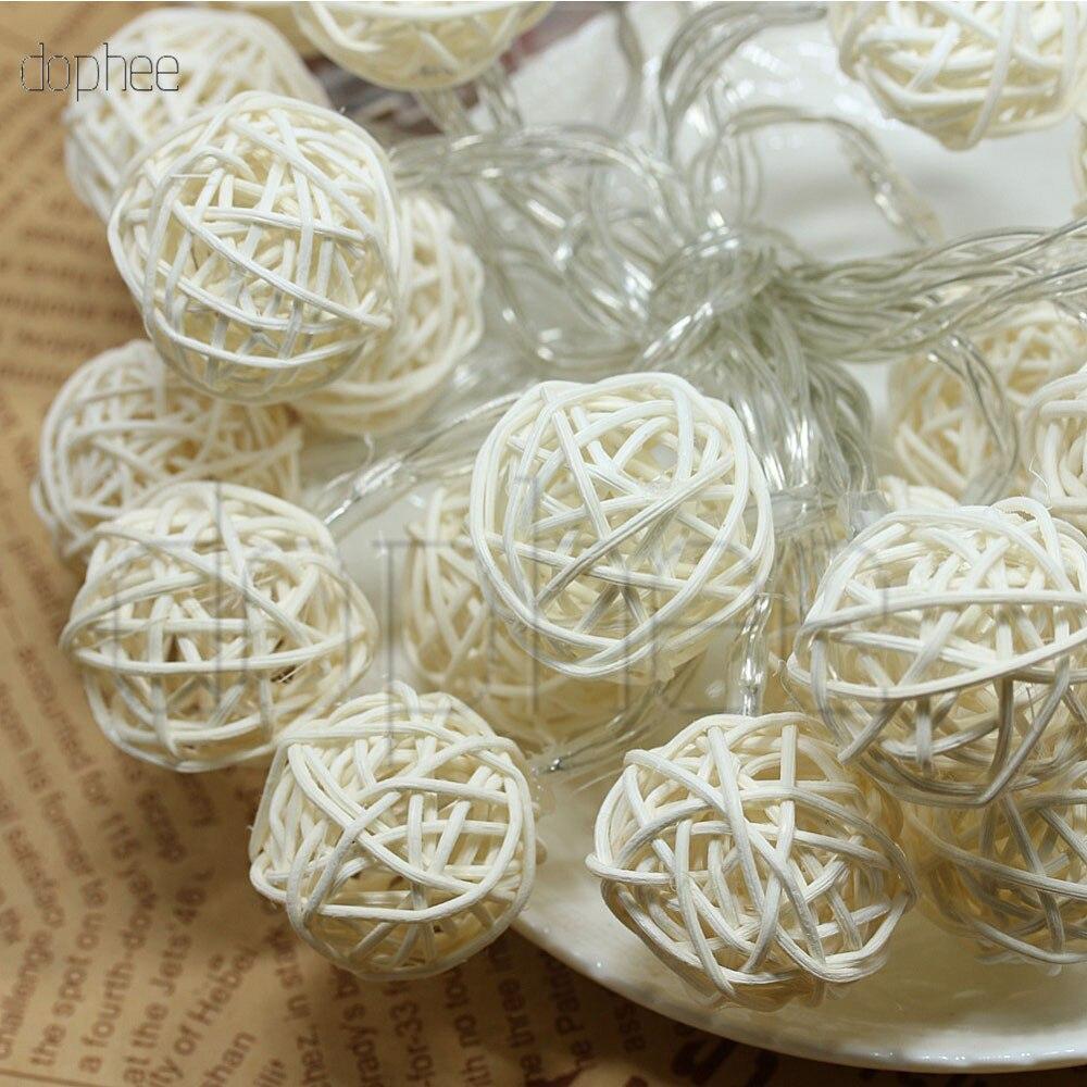 Dophee 20 bolas de rattan led luzes da corda bateria guirlanda algodão bola luz corrente guirlande lumineuse luzes de natal bolas
