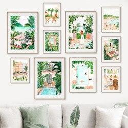 Praia piscina tropical marroquino selva swing prado parede arte da lona quadros e quadros de parede para sala estar decoração