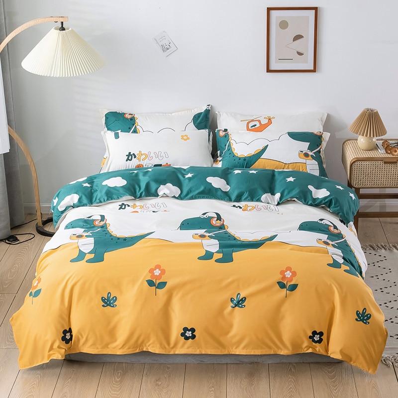 الأطفال حاف الغطاء غطاء سرير طقم سرير للزوجين الأسرة التوأم حجم الأصفر الأخضر الكرتون ديناصور المفرش على أغطية سرير