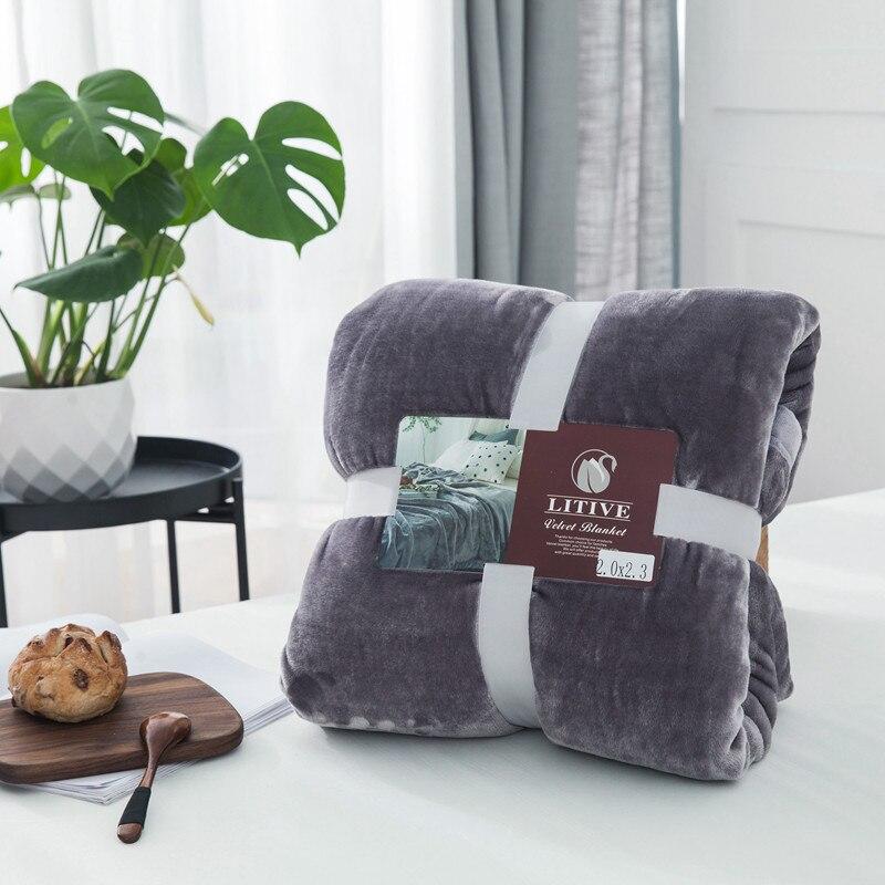 بطانية صوف مرجانية فائقة النعومة ، 400gsm ، لون خالص ، غطاء أريكة ، ملاءات دافئة للشتاء ، منفوشة
