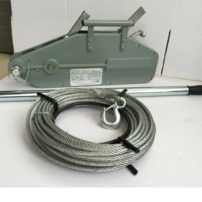 0.8T / 1.6T / 3.2T20M مجال الجر غير الكهربائية أسلاك سبائك الصلب الألومنيوم حبل اليد سحب رافعة