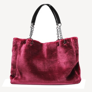 Women Fluffy Party Chain Strap Outdoor Large Capacity Winter Daily Storage Zipper Closure Crossbody Shoulder Bag Soft Plush