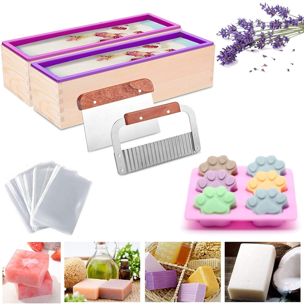 1200g Silicone Soap Mould Set Rectangular Toast Loaf Mold Wooden Box Handmade Soap Making Tool with 2 Pcs Soap Cutter