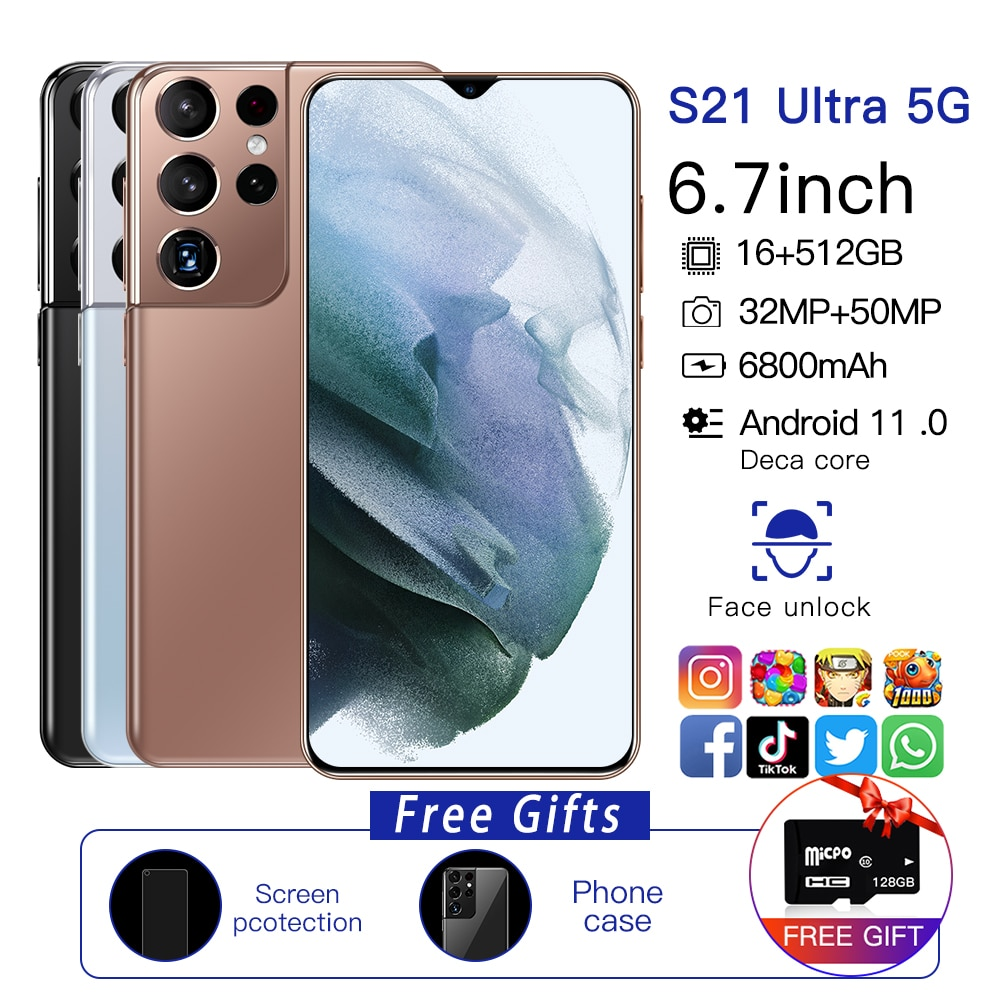 Newest Global version S21Ultra 5G 16GB 512GB 6.7 inches free 128GB memory card Android11 smartphone 6800mAh full screen