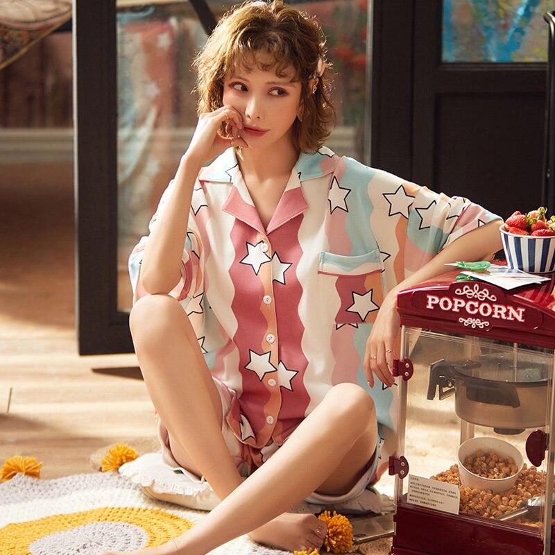 Conjunto de pijamas de algodón de verano para mujer, 2 uds., ropa de dormir holgada de manga corta para el hogar, ropa de dormir femenina, ropa de hogar de ocio