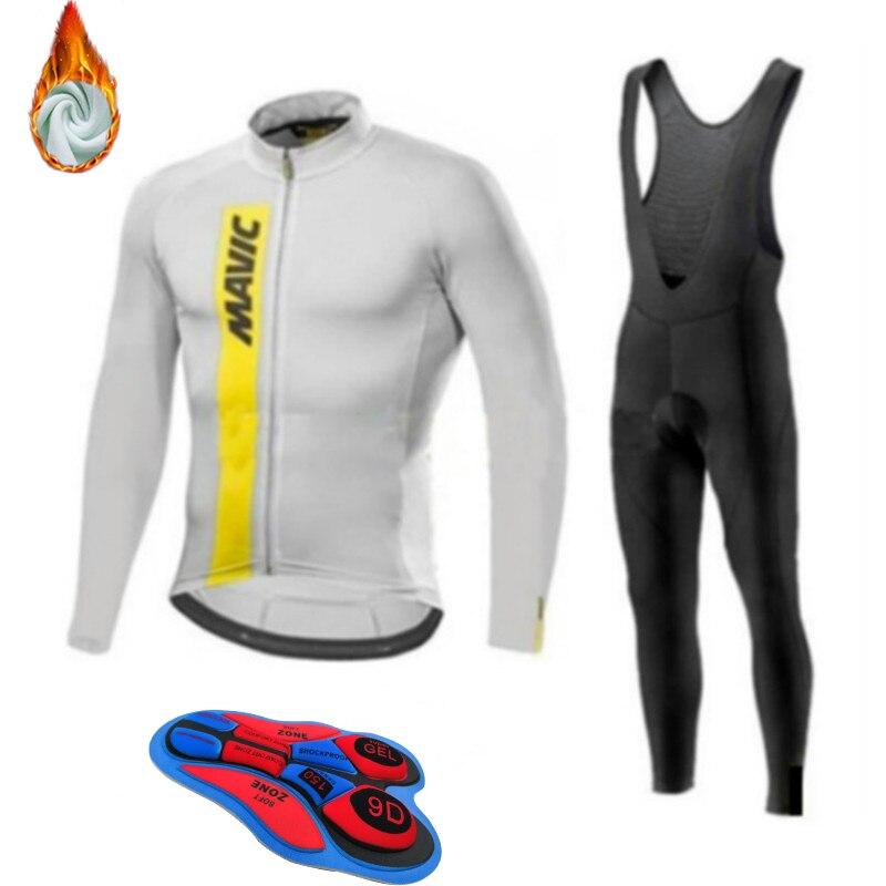 Jersey de lana caliente para invierno 2020, ropa de ciclismo para hombres, Conjunto de Jersey de conducción al aire libre, bicicleta de montaña, ropa, equipo de traje de babero