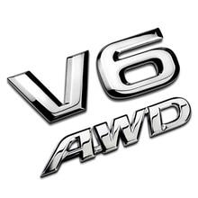 Modelo de coche 3D, pegatina de Metal cromado, guardabarros lateral V6 AWD para equipaje trasero, Logo, insignia, apliques emblema para Toyota Subaru Impreza Honda