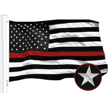 USA Black And White Red Flag 3 x 5 FT Waterproof Nylon Embroidered Stars Sewn Stripes American Flags