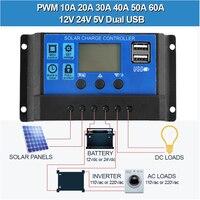 Контроллер заряда солнечной батареи 12 в 24 в 50 А 40 А 30 А 20 А, автоматический контроллер солнечной панели, регулятор, Универсальный USB 5 В, зарядк...