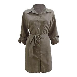 Модное женское однобортное офисное мини-платье-рубашка с отложным воротником и поясом