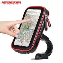 HEROBIKER support de téléphone Mobile moto vélo support de montage support pour téléphone étui étanche sac pour Iphone 6/7 Samsung