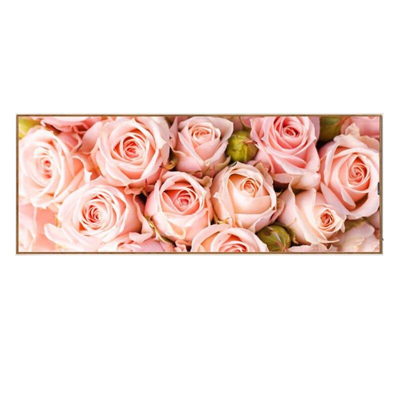Полностью Алмазная картина, розовая роза, узор, горный хрусталь, ручная работа, мозаика, цветы, сделай сам, алмазная вышивка, декоративные 128x48см