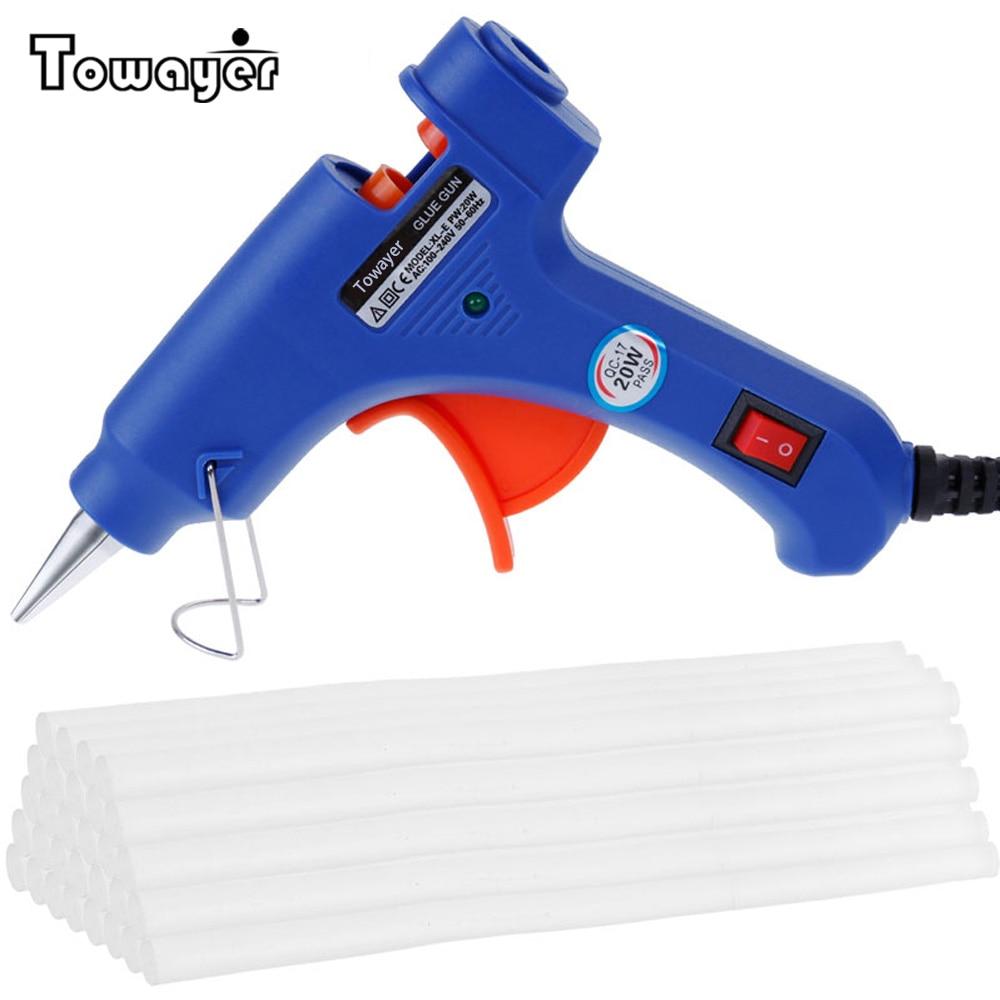 20W Hot Melt Glue Gun with Glue Sticks Industrial Mini Guns Thermo Electric Heat Temperature Tool with 7*100MM Sticks