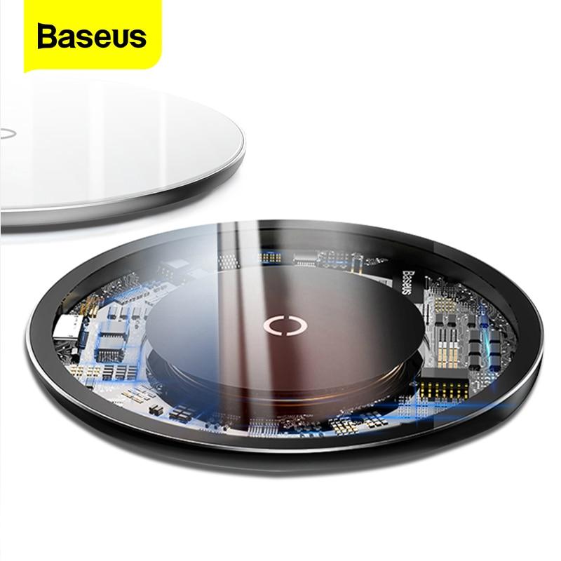 Cargador inalámbrico Baseus 10W Qi para iPhone 11 Pro X XR Xs Max 8 Plus, almohadilla de carga inalámbrica de cristal rápido para Samsung S20 Xiaomi Mi 9