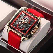 2021 Новинка LIGE мужские часы Топ бренд Роскошные полые квадратные спортивные часы для мужчин модный силиконовый ремешок водонепроницаемые к...