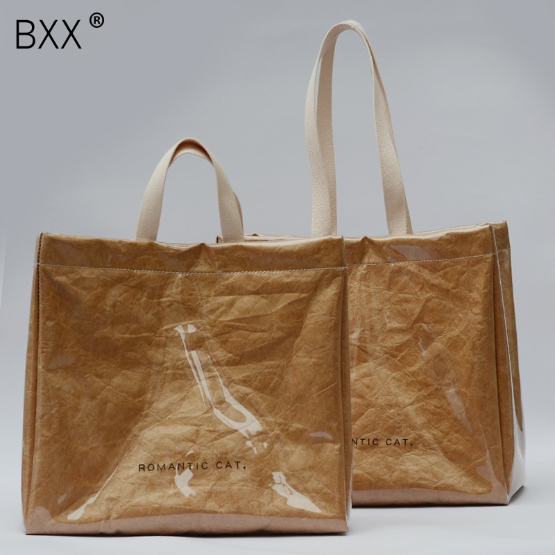 [BXX] 2021 Spring Summer Woman New Waterproof PVC Kraft Paper Double Handles High Capacity Travel Handbag All Match LI833