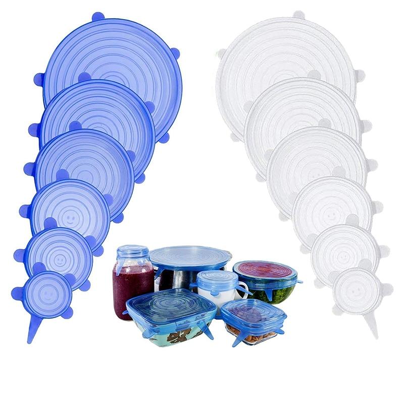 6pcs Reusable Silicone Food Cover Universal Stretchy Silicone Lids For Cookware Bowl Pot Tapas De Silicona Para Alimentos