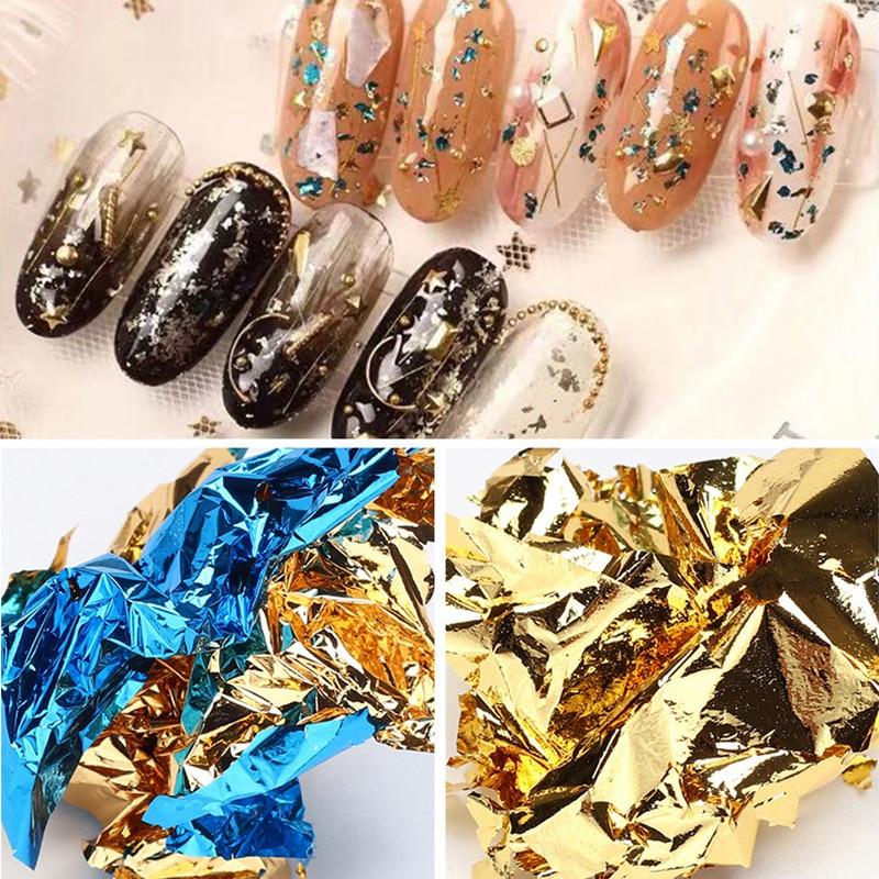 Gold Silver Aluminum Nail Foil Paper Glitter Sequins Nails Art Irregular Flakes Polish Manicure Design Stickers Nail Decoration