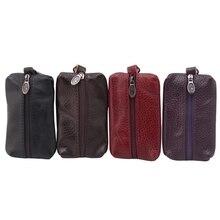 Fashion Simple Key Holder Genuine Leather Wallet Unisex Solid Key Wallet Organizer Bag