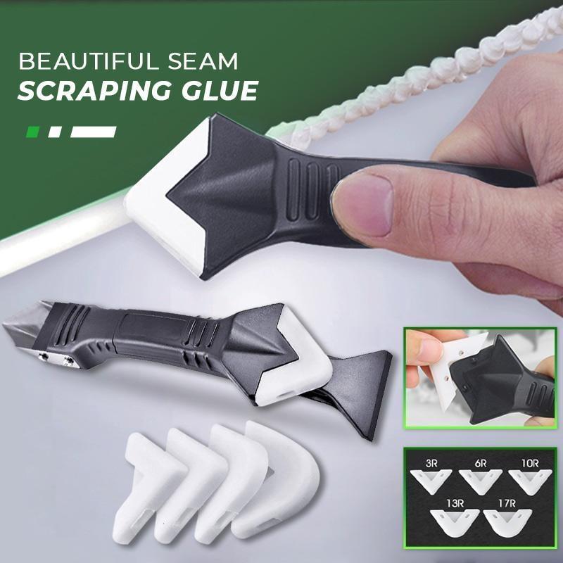 Grattoir d'angle pour colle de verre 3 en 1, outil de calfeutrage, pelle en caoutchouc multifonctionnelle, dissolvant de Silicone, pelle d'angle, 5 pièces