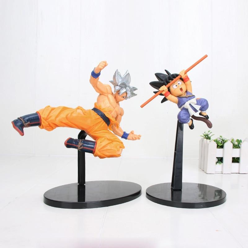 20cm Bola de Dragón Anime Super PES Super Saiyan Goku y SSGSS Dios Goku negro niño PVC figura de acción colección modelo niños muñeca de juguete