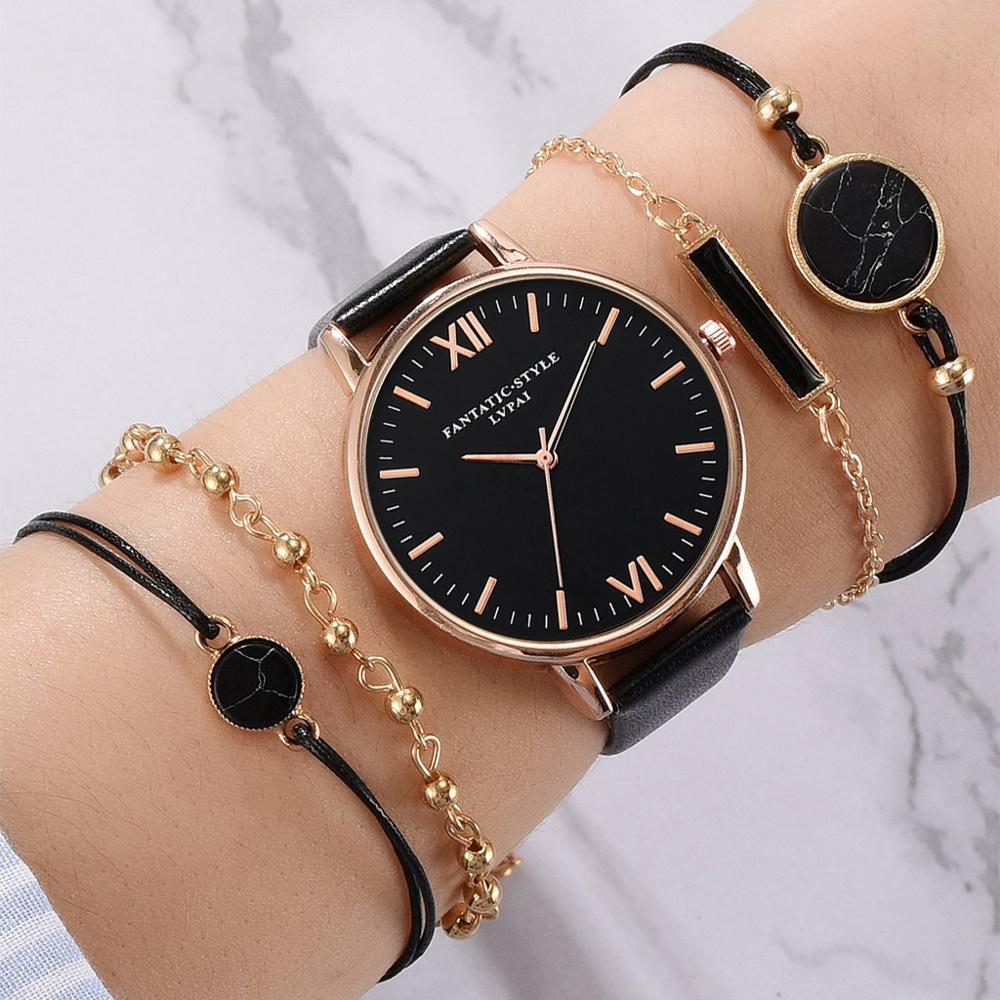 Luxus 5 teil/satz Top Marke frauen Uhren Armband Set Damen Frauen Uhr Casual Leder Quarz Armbanduhr Uhr Relogio Feminino
