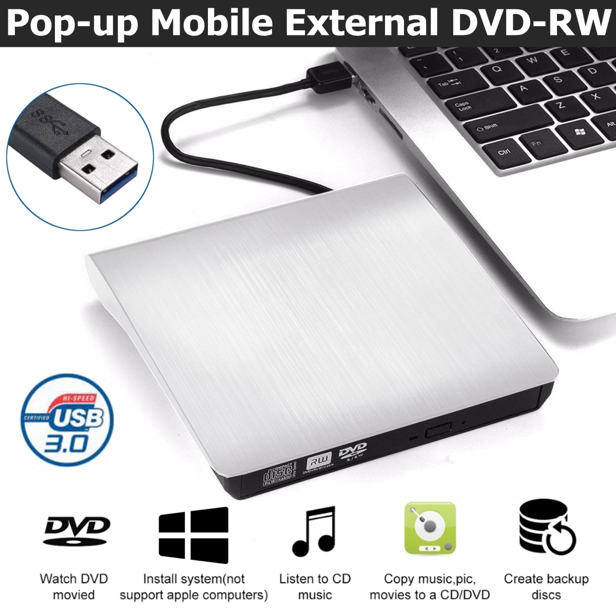 External DVD Drive USB 3.0 Portable CD DVD RW Drive Writer Burner Optical Player Compatible For Wind