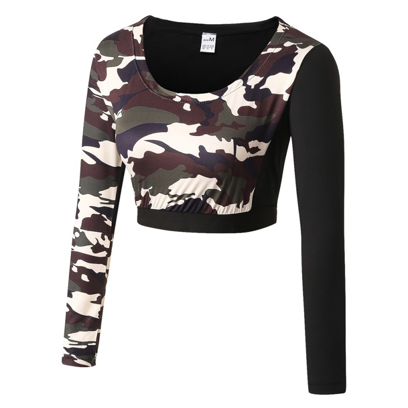 Women Camouflage  Sport Top Yoga Training Set Elastic Pants Long Sleeve T-shirt Quick Dry Gym Fitness Pants Top Legging