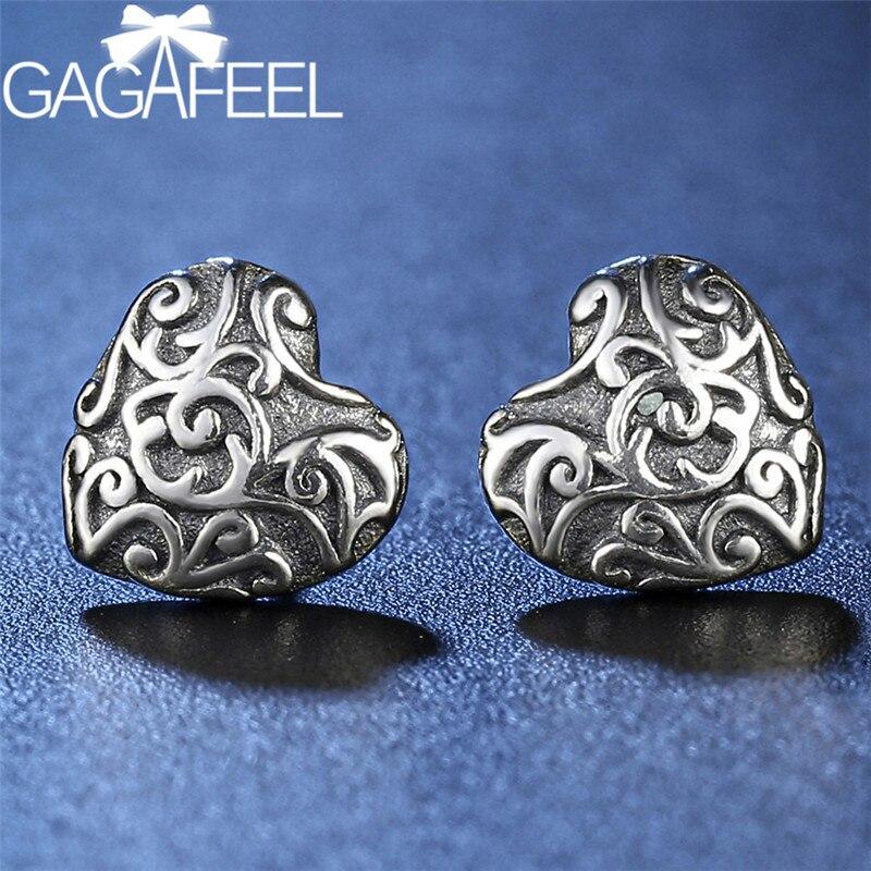 Pendientes tipo botón de plata fina para mujer, pendientes pequeños para niñas, joyería de corazón de amor, moda 925