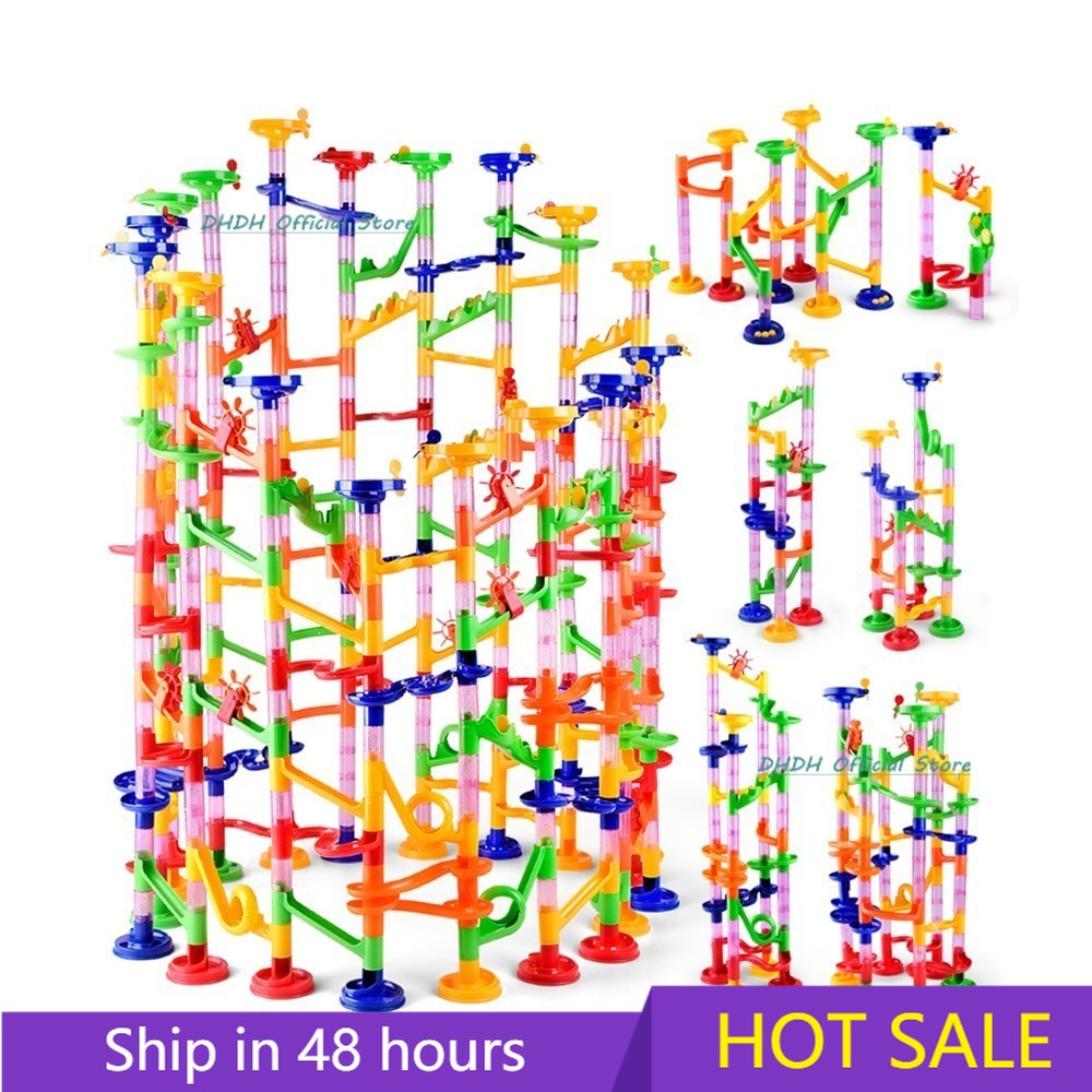 109PCS DIY Maze Balls Track Building Blocks Toys For Children Construction Marble Race Run Pipeline