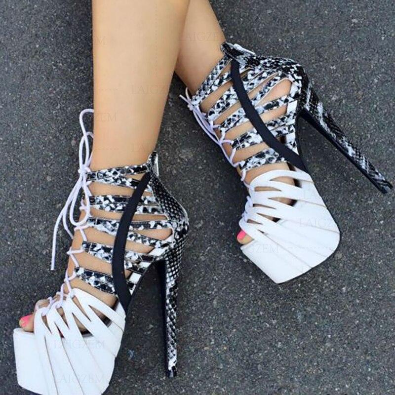 Sandalias de plataforma BERZIMER para mujer, tacones altos de serpiente de verano, Zapatos con cremallera trasera, Zapatos de tacón para mujer, talla grande 43 44 46 52