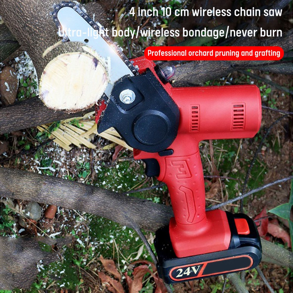6 inch 1200w mini electric chain saw with battery indicator 128vf 388vf rechargeable woodworking tool for makita 18v battery 4 Inch 1200W Electric Pruning Saw Electric Saws Woodworking Electric Saw Garden Logging Mini Electric Chain Saw Lithium Battery