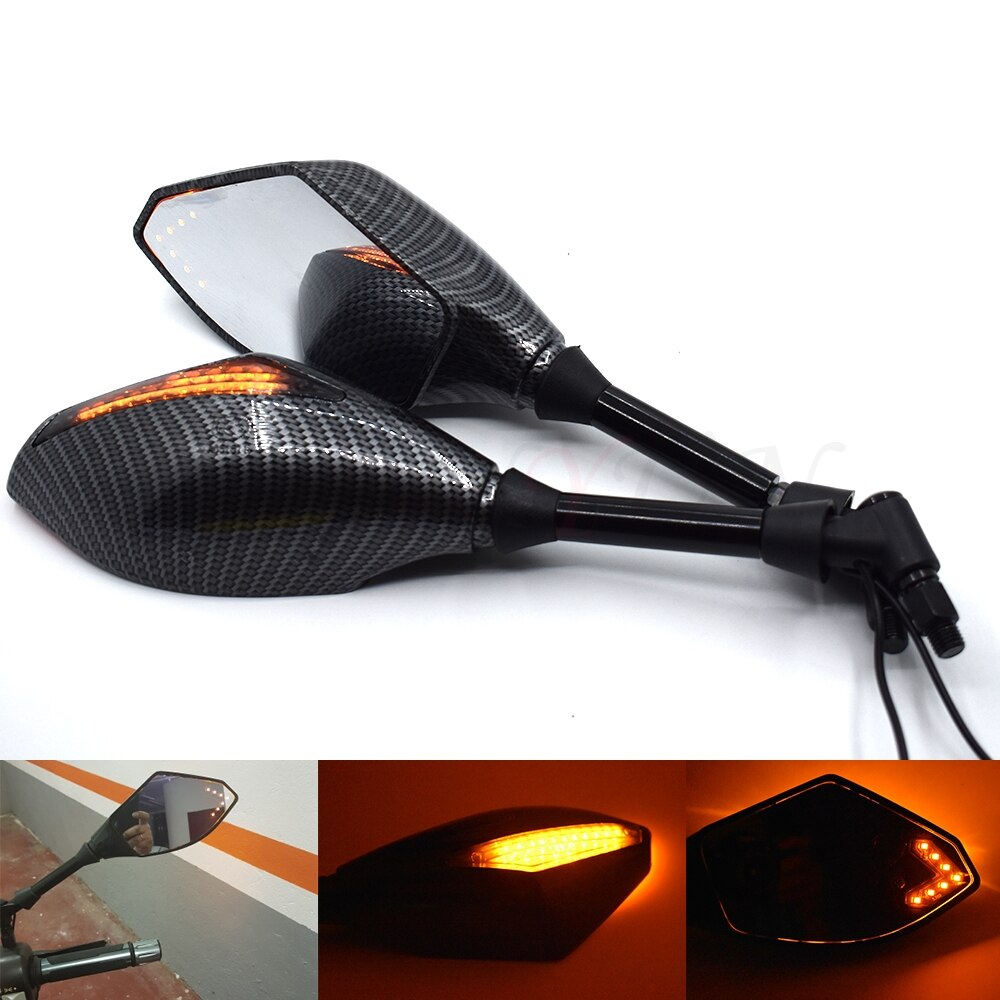 Motocicleta LED luces de giro espejos laterales indicador de señal de giro espejo retrovisor para Suzuki TL1000R dv1000s GSXR1300 GSF1250 DL1000