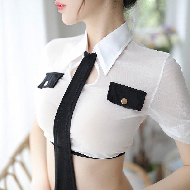 Las mujeres Cosplay uniforme trajes de mujer policía Disfraz de policía Sexy y trajes eróticos Lencería policía traje de Pole Dance